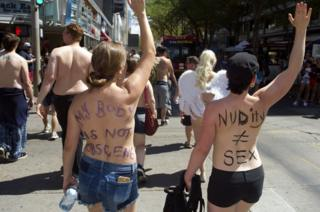 Topless women in 2017 protest
