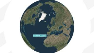 Image shows Earth with the Atlantic Ocean labelled