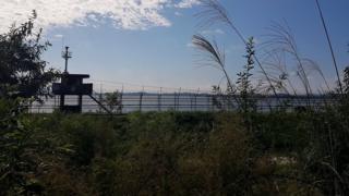 La frontera entre las dos Coreas desde el Sur.