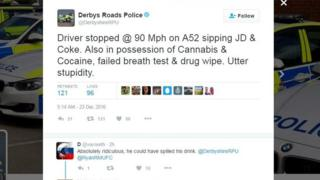 "Derbys Roads Police: ""Driver stopped @ 90 Mph on A52 sipping JD & Coke. Also in possession of Cannabis & Cocaine, failed breath test & drug wipe. Utter stupidity."""