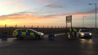 Police outside the Royal Air Force Mildenhall