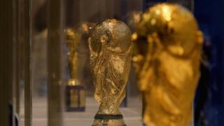 The FIFA World Cup Trophy is displayed during the Italian Football Federation trophies exhibition in Rome