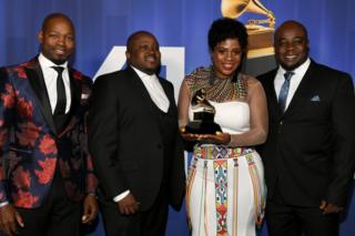 Soweto Gospel Choir pose with their award at the 61st annual Grammy awards at Microsoft Theater on 10 February 2019 in Los Angeles, California.