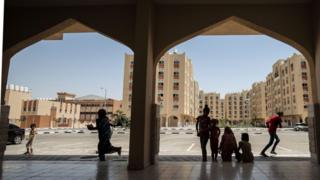 """A picture shows a view of the Qatar-funded construction project """"Hamad City"""" on June 9, 2017 in Khan Yunis in the southern Gaza Strip."""