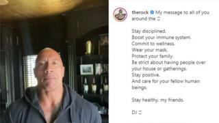 "Dwayne ""the Rock"" Johnson talks about his family's Covid-19 infection on Instagram, 2 September 2020"
