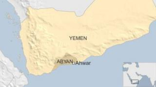 Map of Yemen showing Abyan province and the town of Ahwar