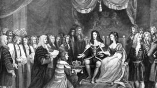 Гравюра. Парламент предлагает корону Вильгельму и Мэри
