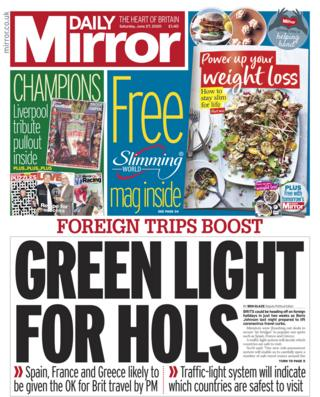 Daily Mirror front page - 27/06/20