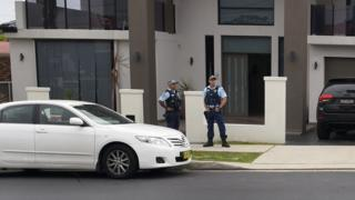 Police outside the home of Talal Alameddine in Sydney (Oct 2015)