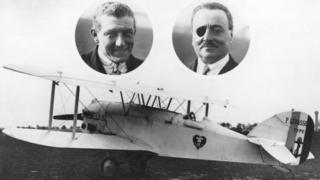 The aviators Charles Nungesser (left) and Francois Coli, who attempted to fly from Paris to New York, and their White Bird plane