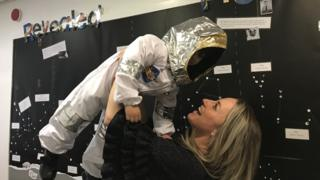 Jenny Lister and pupil dressed as an astronaut