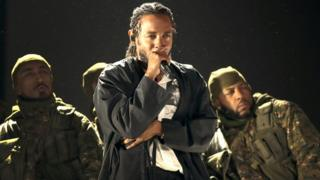 Kendrick Lamar performs during the 60th annual Grammy Awards in January