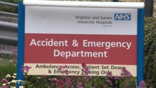 A&E sign Brighton and Sussex University Hospitals NHS Trust