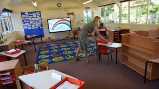 A teacher prepares the classroom