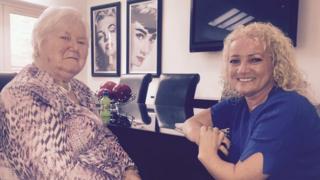 Northern Ireland thalidomide survivor Kim Fenton and her mum Agnes Lattimer