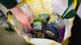 Bag of food at food bank