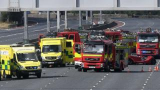 Multi-vehicle crash that closed the M2 in Belfast on Sunday 22 July