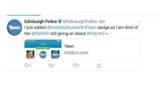 Tweet from Edinburgh Police