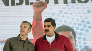 Tareck El Aissami (left) with Nicolas Maduro in Caracas, 31 January