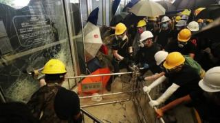 Pro-democracy protesters gain entry to the Hong Kong Legislative Assembly