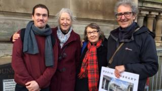 From left - Joseph Young, Jenny Marris, Hazel Clawley and Alan Clawley outside the Council House