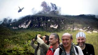 Scientists in the Amazon rainforest