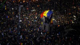 Crowds of demonstrators swelled in Bucharest's Victory Square on Sunday 5 February