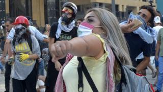 Manifestantes en Líbano.