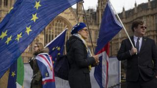 Anti Brexit campaigners outside parliament