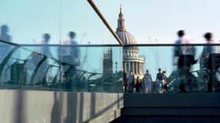 City workers on millennium bridge