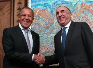 Министр иностранных дел РФ Сергей Лавров и министр иностранных дел Азербайджана Эльмар Мамедьяров