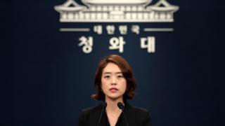 고민정 청와대 대변인이 9일 오전 서울 종로구 청와대 춘추관에서 조국 법무부 장관을 비롯한 장관급 후보자 6명의 인사발표를 하고 있다