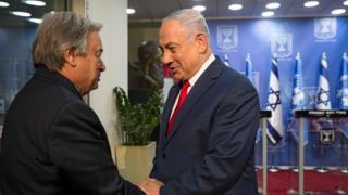 António Guterres ayaa Benjamin Netanyahu u sheegay in uu fahansan yahay walaaca dhanka Amniga ee Israa'iil
