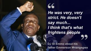 """He was very very strict. He doesn't say much... I think that's what frightens people"" DJ St Emmo about his father Emmerson Mnangagwa"
