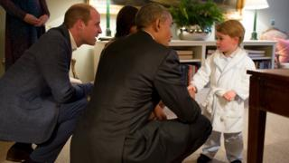 Prince William, president Obama and prince George