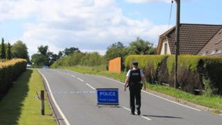 A police cordon near the scene of the crash