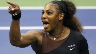 Serena Williams shouting on a tennis court