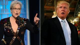 Meryl Streep (L) / Donald Trump