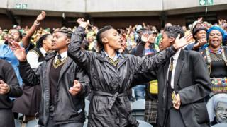 South African students joined mourners at the Olando Stadium in Soweto, outside Johannesburg, on 11 April 2018