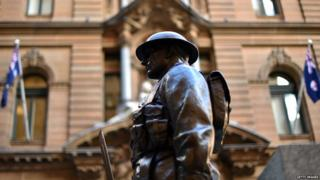 A statue of a solider in Martin Place, Sydney, Australia