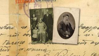 Pictures of Alex Abrahams' ancestors, on a background of a handwritten document