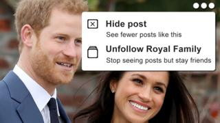 "A photoshopped composite showing a smiling Harry and Meghan, overlaid with a ""hide post - see less like this"" mock-up in a style similar to Facebook"