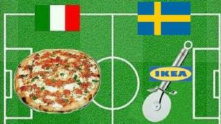 Collage of pizza, representing Italy, and Ikea pizza cutter, representing Sweden