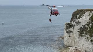 , Woman injured falling from Old Harry Rocks cliffs