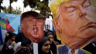 On the eve of renewed sanctions by Washington, Iranian protesters demonstate outside the former US embassy in the Iranian capital Tehran on November 4, 2018, marking the anniversary of its storming by student protesters that triggered a hostage crisis in 1979.