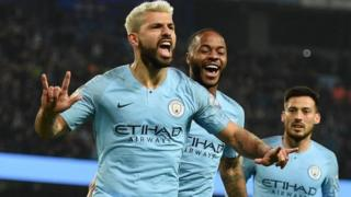 "Manchester City""s Sergio Aguero celebrates scoring against West Ham, 27 February 2019"
