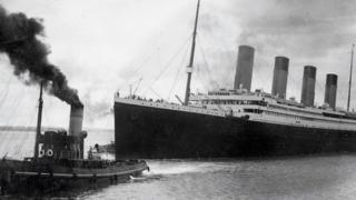 The Titanic leaving Southampton on her ill-fated maiden voyage on 10 April 1912