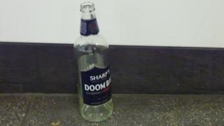Empty bottle of beer