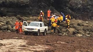 Rescue workers at Trevaunance