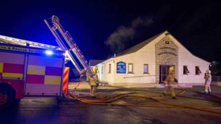 Firefighters tackle the fire at Rathfriland Baptist Church